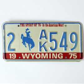 Plaque d'immatriculation USA Wyoming