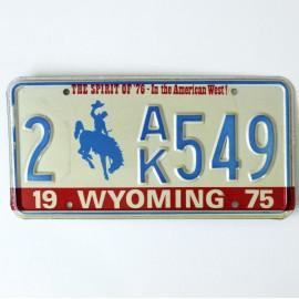 Plaque d'immatriculation USA Wyoming